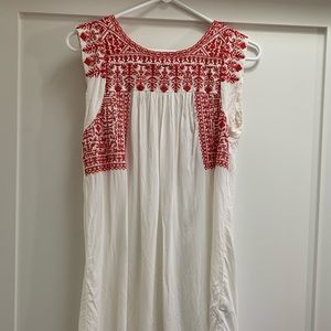 Boho Red Embroidered Sheer Dress/Swim coverup